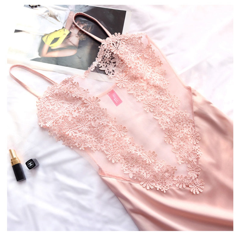 See Though Women Clothing Silk Sexy Lace Night Gowns Lady Pink Lingerie Dress Ropa Sexy Para El Sexo Night Dress Women Sleepwear
