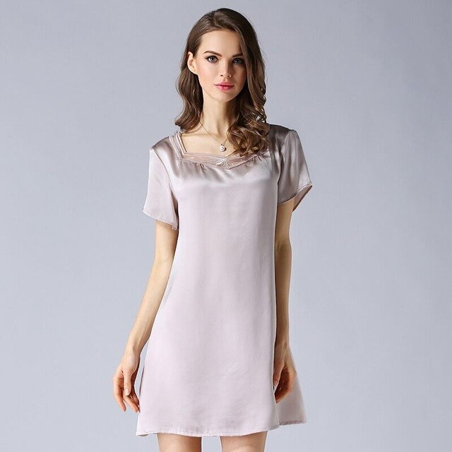 Luxury 100% Genuine Silk Women Nightgowns Nightwear Summer Short Sleeve Mini Dress 100% Real Mulberry Silk Nightdress Sleepwear