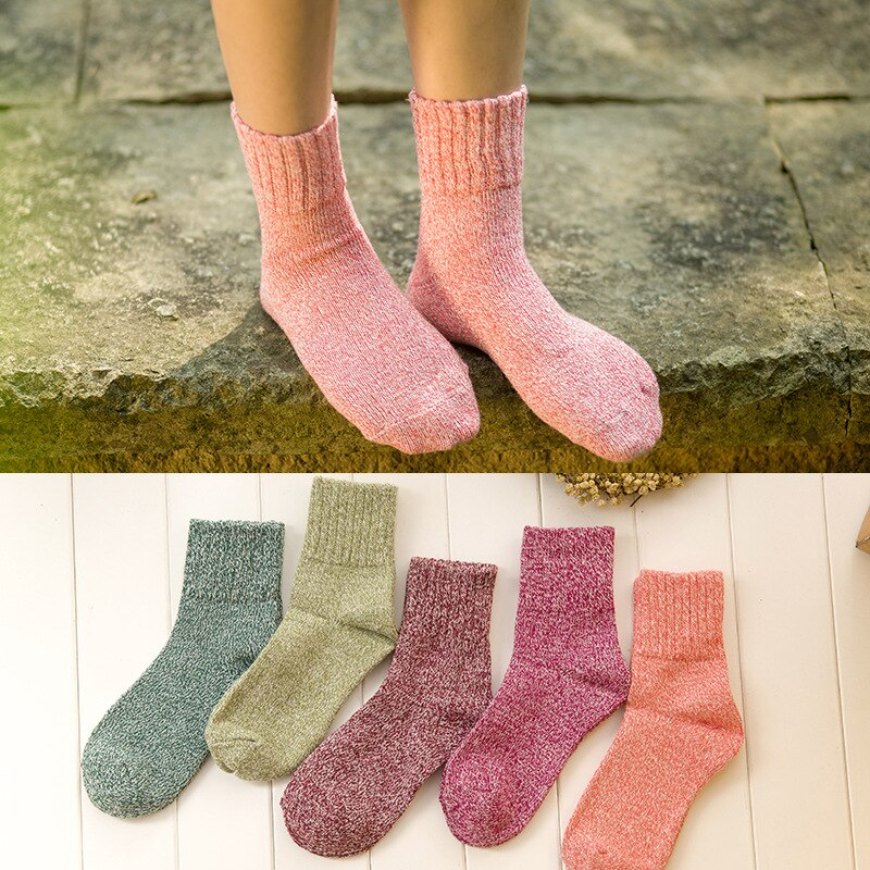 5 Pcs Autumn Winter Fashion Women Socks Warm Thick Rabbit Wool Womens Socks Middle Long Multi Pattern Comfortable Accessories