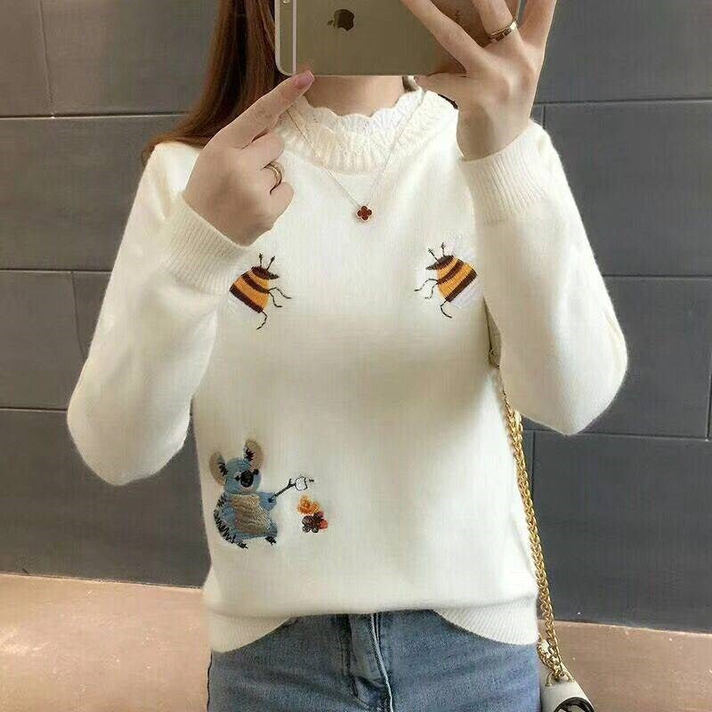 2019 Women Pullover Fashion Sweater Casual Long Sleeve O Neck Lace Patchwork Sweater Tops Tunic Loose Pull Femme