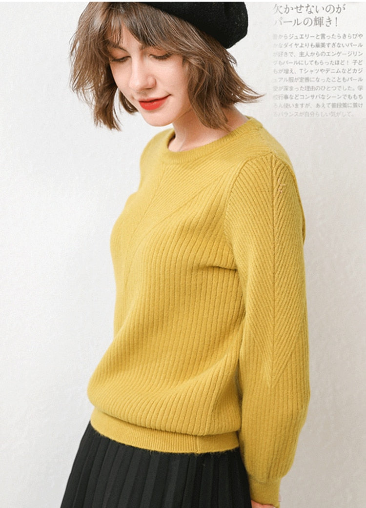 GCAROL New Women Stripe Line Design 30% Wool Sweater Thick Fall Winter Minimalist Jumper Warm Loose Lazy Knitted Pullover