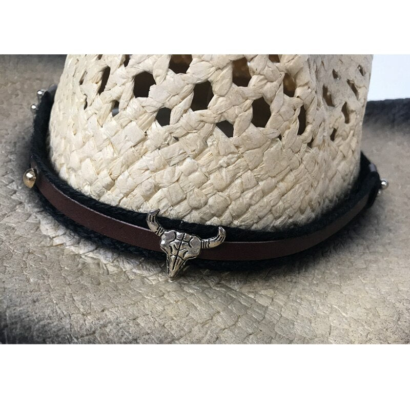 YY Metal Bull Belt Western Cowboy Cap Summer Hollow Sunhat Men Outdoor Wave Brim Jazz Hats Cowgirl Beach Cap CM19022