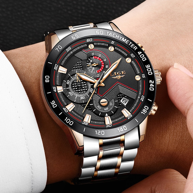 New LIGE Sport Chronograph Mens Watches Top Brand Luxury Full Steel Quartz Clock Waterproof Big Dial Watch Relogio Masculino+Box