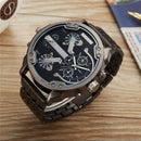 Two Time Zone Man Wristwatch Super Big Dial Male Clock Luxury Brand Popular Men's Sport Watches