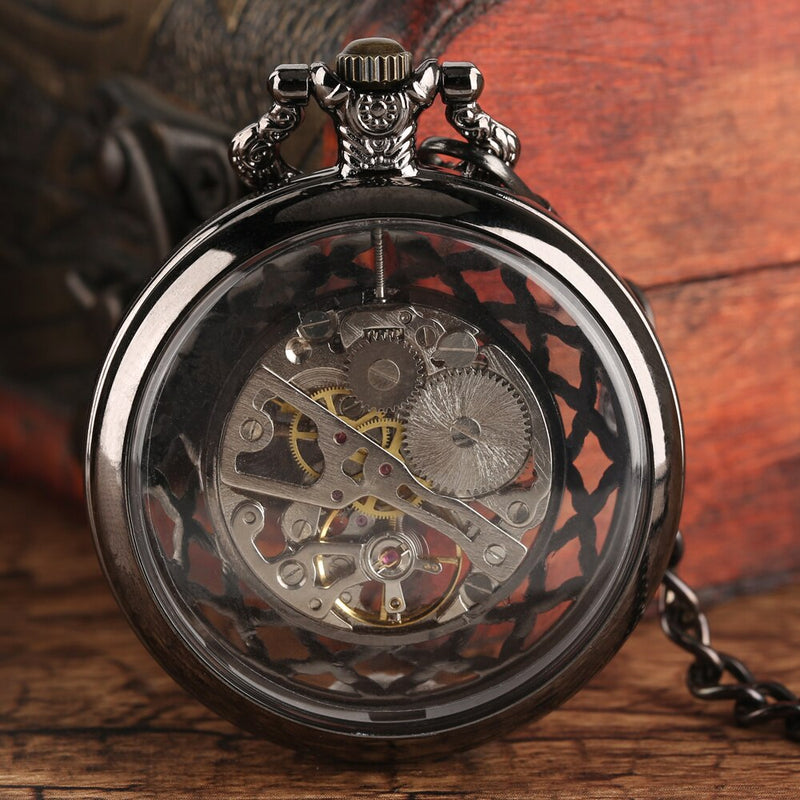 Hand Wind Mechanical Pocket Watch Steampunk Fob Watch New Design Luxury Brand Trendy Hollow Watches for Male Female montre femme