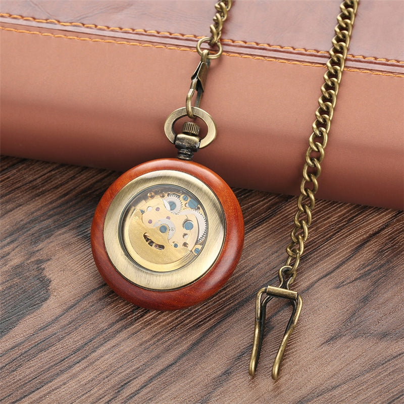 Wooden Mechanical Pocket Watch Automatic Self-Wind Pendant Watch Open Face Fob Pocket Clock Gifts for Men Women Luxury reloj