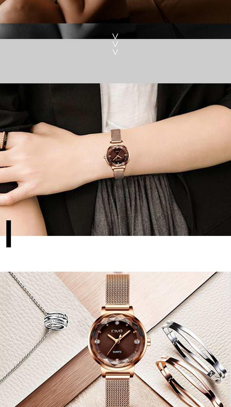CIVO Luxury Brand Women Dress Watch Crystal Ladies Watches 2019 Waterproof Rose Gold Quartz Wrist Watches Relogio Feminino