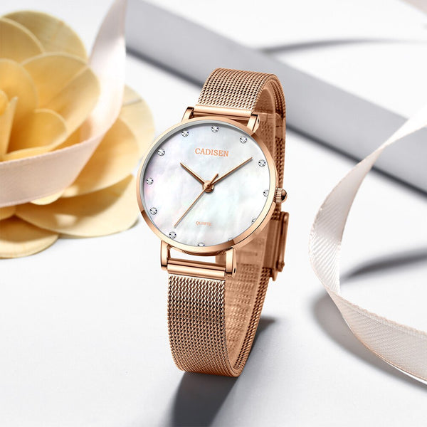 2019 new CADISEN Women's Watches brand luxury Watch women Fashion Gold Ladies watch women Wrist watch clock relogio feminino