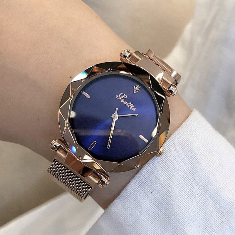2019 Luxury Brand lady Crystal Watch Magnet buckle Women Dress Watch Fashion Quartz Watch Female Stainless Steel Wristwatches