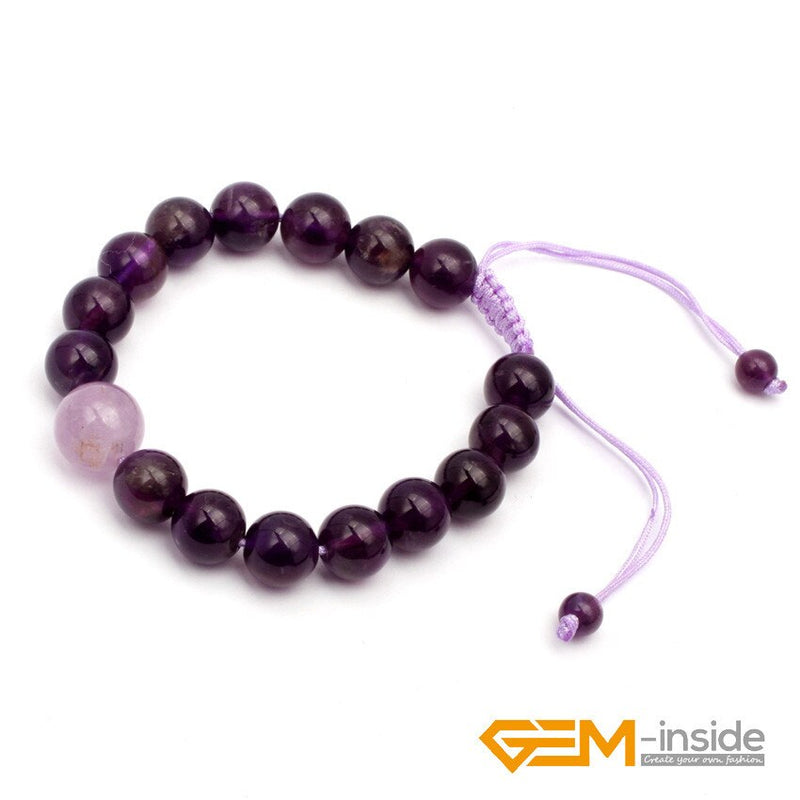 8mm 10mm Natural Amethysts Stone Bracelet, Lucky Stone For Aquarius ,Symbol Of Honesty, Kindness, Wisdom And Aura Free Shipping