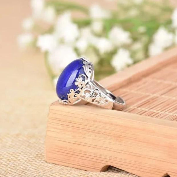 S925 Sterling Silver Pure Natural Afghan Lapis Lazuli Ring