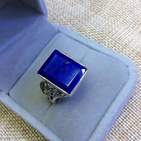 Silver S925 pure silver inlaid natural Afghan lapis ring