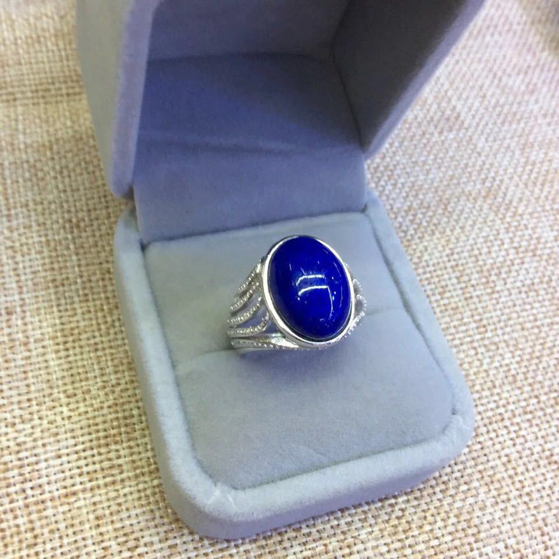 S925 Sterling Silver Pure Afghan Lapis Blue Silver Open Ended Ring