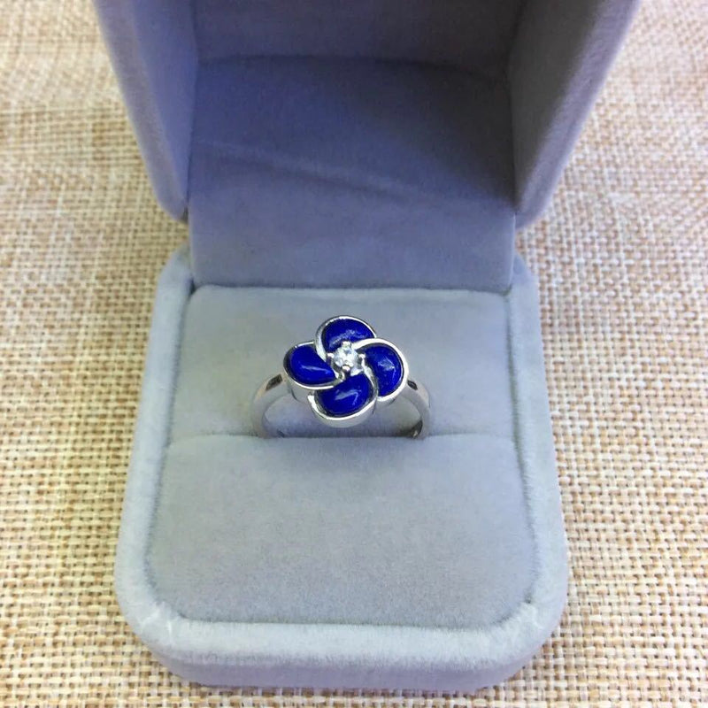 Retro Silver S925 Sterling Silver Inlaid Natural Afghan Lapis Lazuli Open Ended Clover Ring