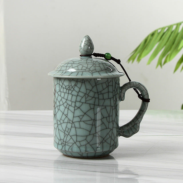 Mug Cup Ceramic with Cover for Tea Coffee Temperature Controller