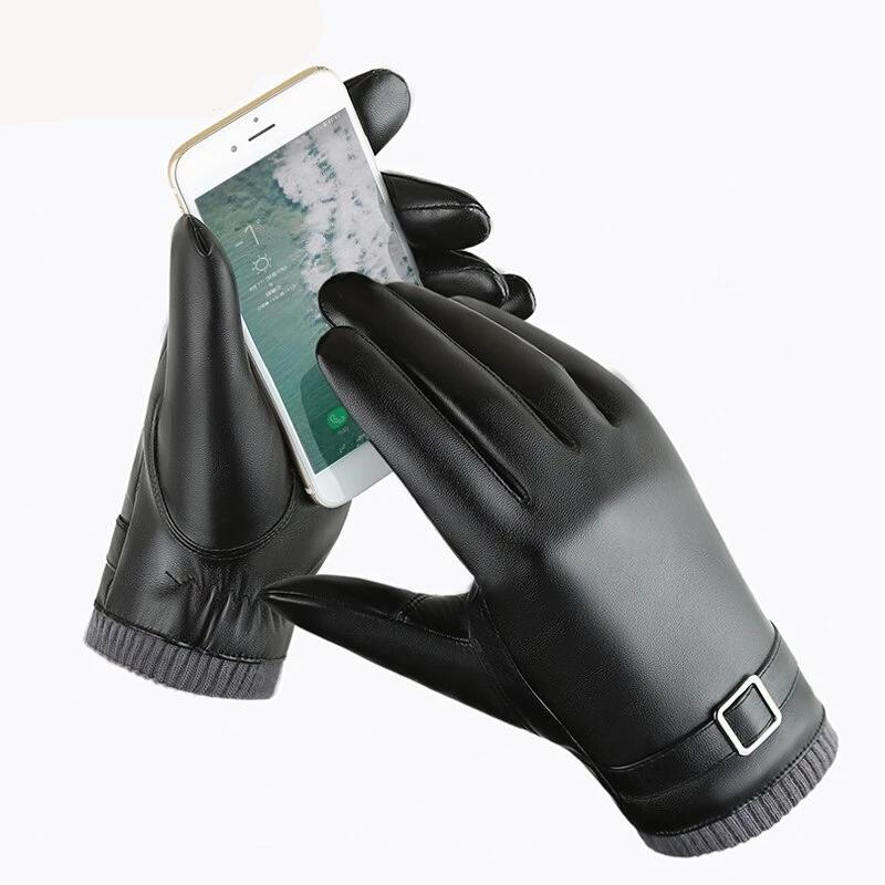 Men's Gloves Winter Leather Gloves Leather Mittens