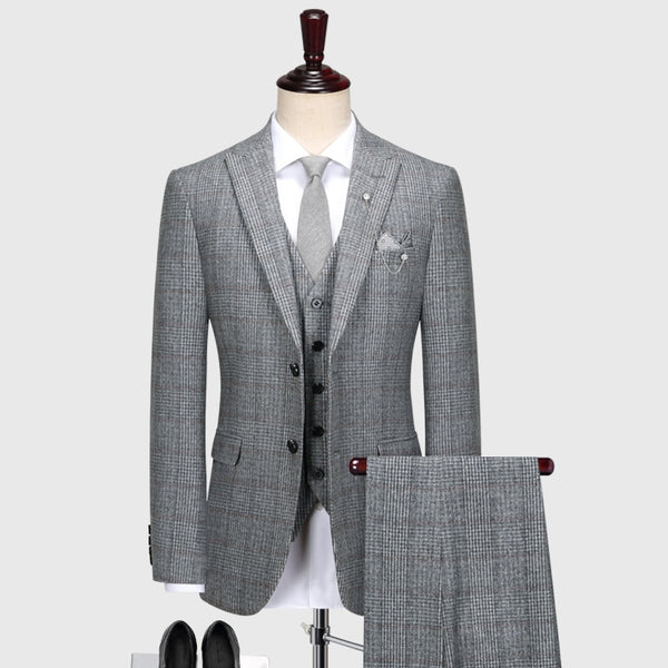 60% wool mens suit set grey plaid autumn winter thicken suits set blazer pant plus size man wedding groom business wear gray 58