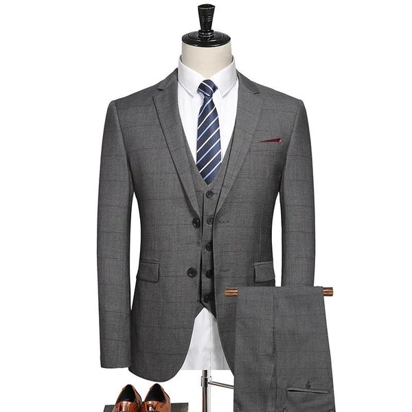 New Men's Fashion Boutique Plaid Wedding Dress Suit Three-pieces Male Formal Business Casual Suits ( Jacket + Vest + Pants )