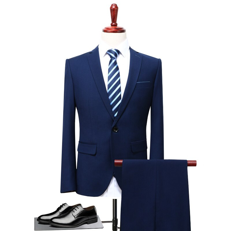2019 Spring Men Suits New Two Pieces Of Suit Business And Casual Wedding Suits For Men Good Quality Single Button Mens Suits