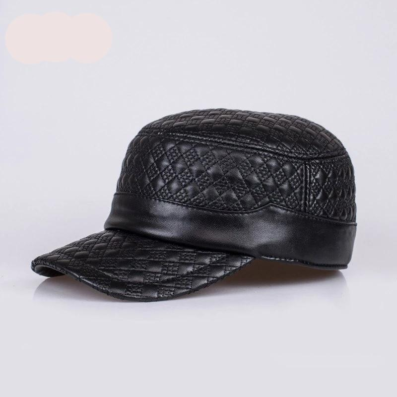 HL068  genuine leather baseball cap/hat brand new men's real  leather adjustable army caps/hats with 2 colors