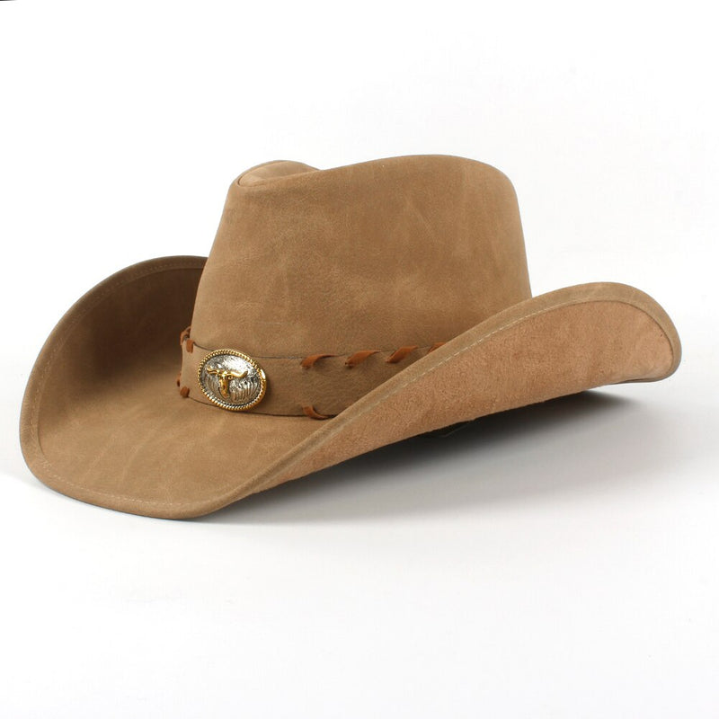 Fashion Men Western Cowboy Hat For Dad Gentleman 100% Leather Sombrero Hombre Jazz Caps Size 58-59CM