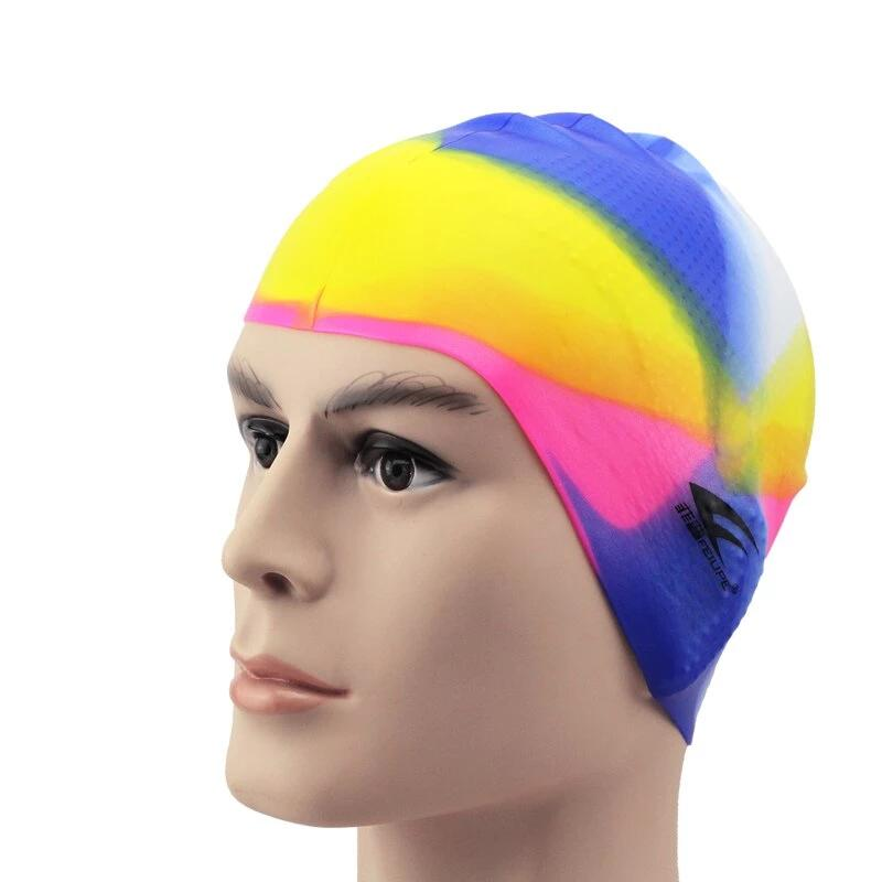 100% Silicone Swimming Cap Elastic Cap For The Pool Long Hair Waterproof 3D Pool Protect Ears Swiming Hat For Men Women Adult