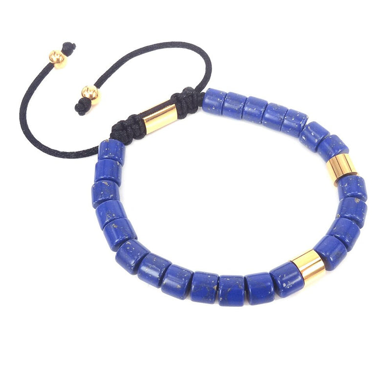 Handmade Lapis Lazuli Bracelet Stainless Steen Tube For Men & Women