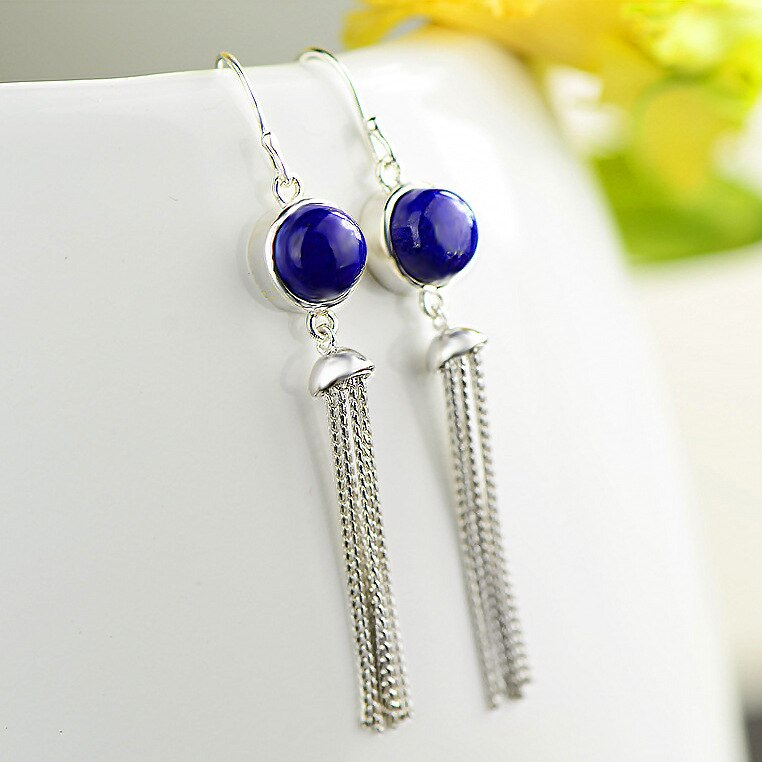 Natural Lapis Lazuli Drop Earrings For Women 2019 Real 925 Sterling Silver Long Tassels European style Fine Earrings For Gift
