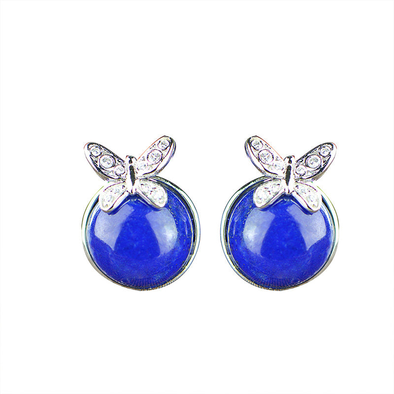 Sliver 925 Sterling Jewelry Lapis Lazuli Small Earrings For Ladies Girls Women