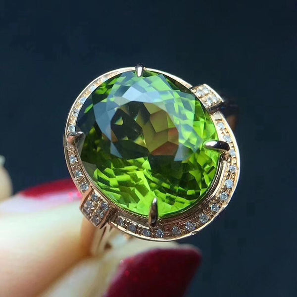 Female Ring Diamond & Tourmaline Gemstones