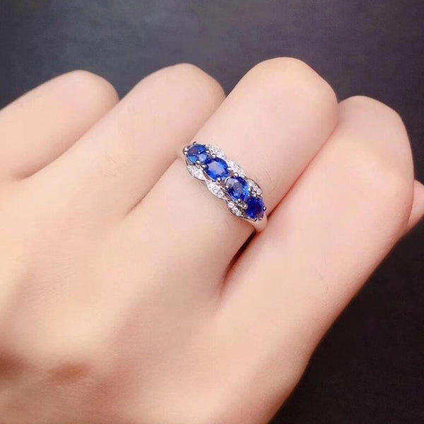 Diamonds Female Rings Fine Jewelry Sapphire