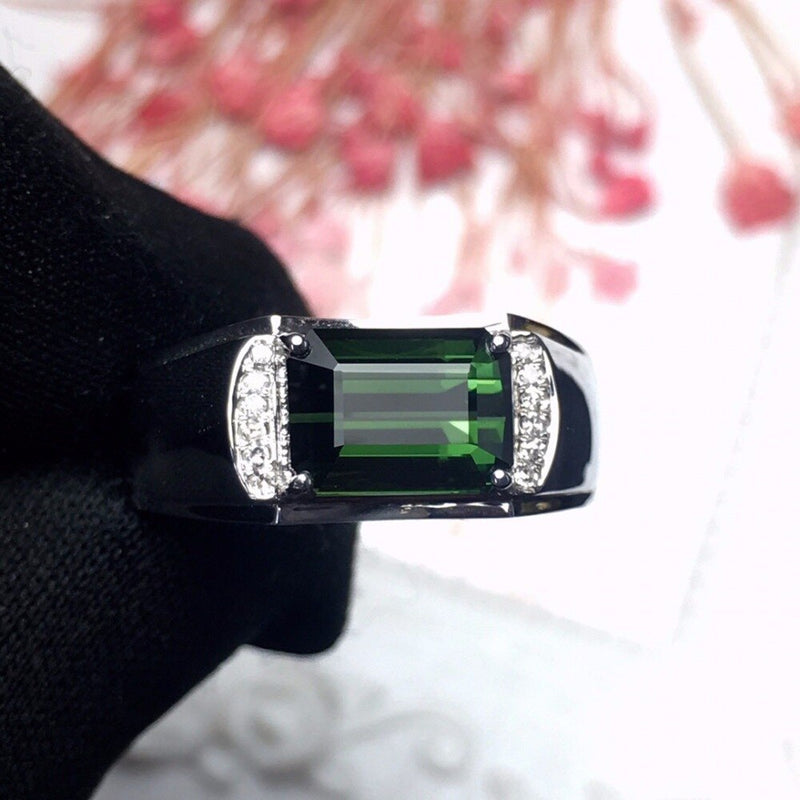 Ring For Men Diamond Tourmaline Gemstones