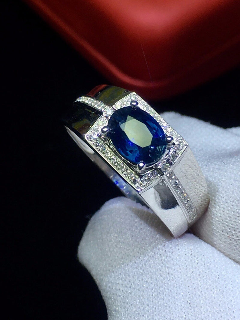 Ring For Men Gold Sapphire & Diamonds