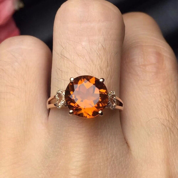 Fine Jewelry 18K Rose Gold Natural Citrine Gemstone Diamonds Female Gift Fine Rings