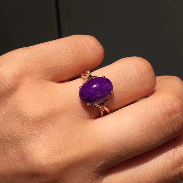 Natural Blue Sugilite Gemstone Female Wedding Rings Fine Jewelry Real Pure 18 K Rose Gold South Africa Origin