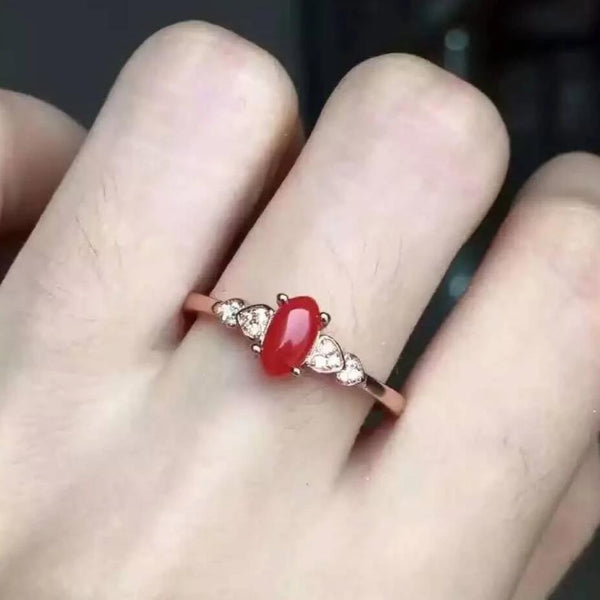 Ring Women Coral S925 Silver Bague Femme