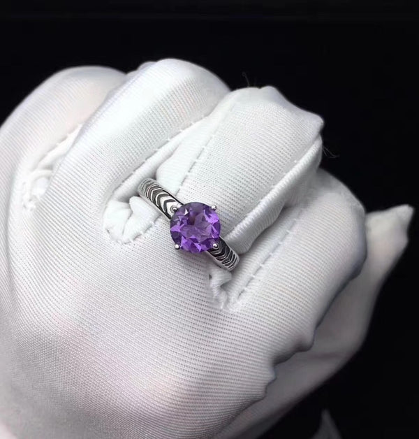 Natural amethyst Ring Women Natural gemstone ring 925 sterling silver