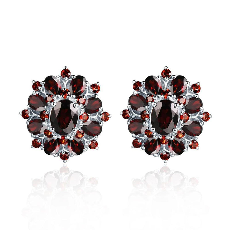 15ct Black Garnet Silver Earrings, Natural Gemstone 925 Sterling Silver Fine Jewelry for Women