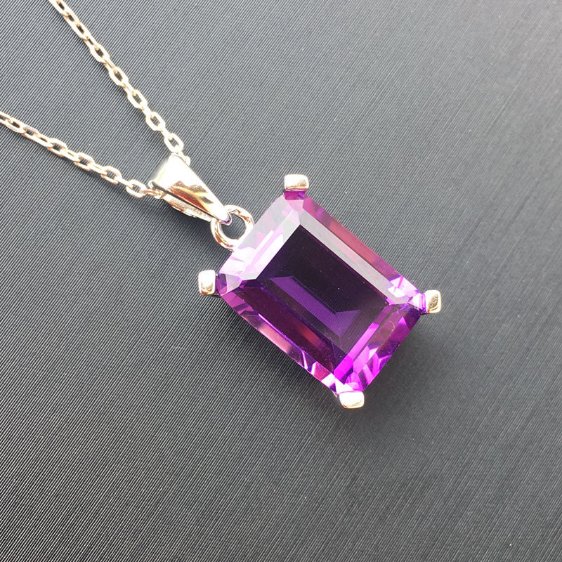 Sterling 925 Silver Amethyst Quartz Pendant Necklace for Women