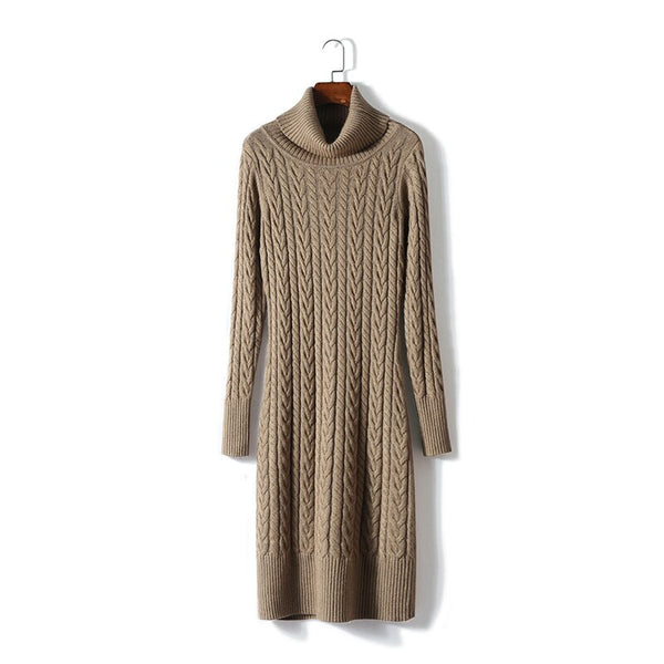Dress Women Wool Laine Robe Femme Cashmere Dress for Ladies