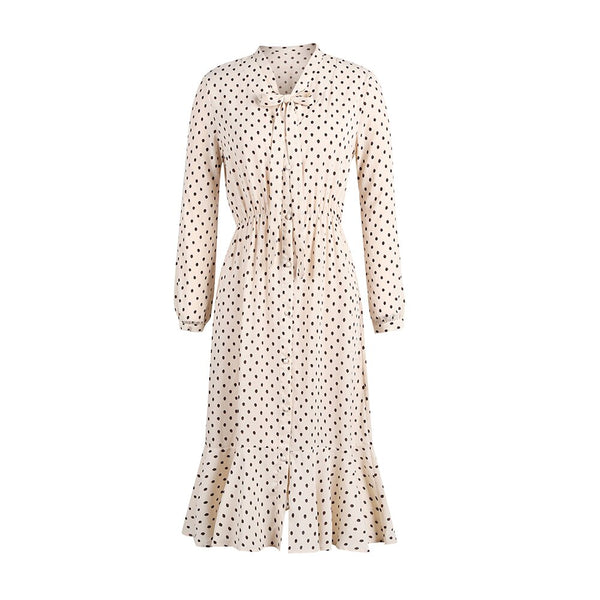 Dot Button Dress for Ladies