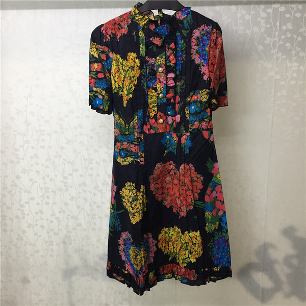Floral Print Dress Women Summer High Quality Cotton Short Sleeve Dress 2018 Fashion A-line Dress