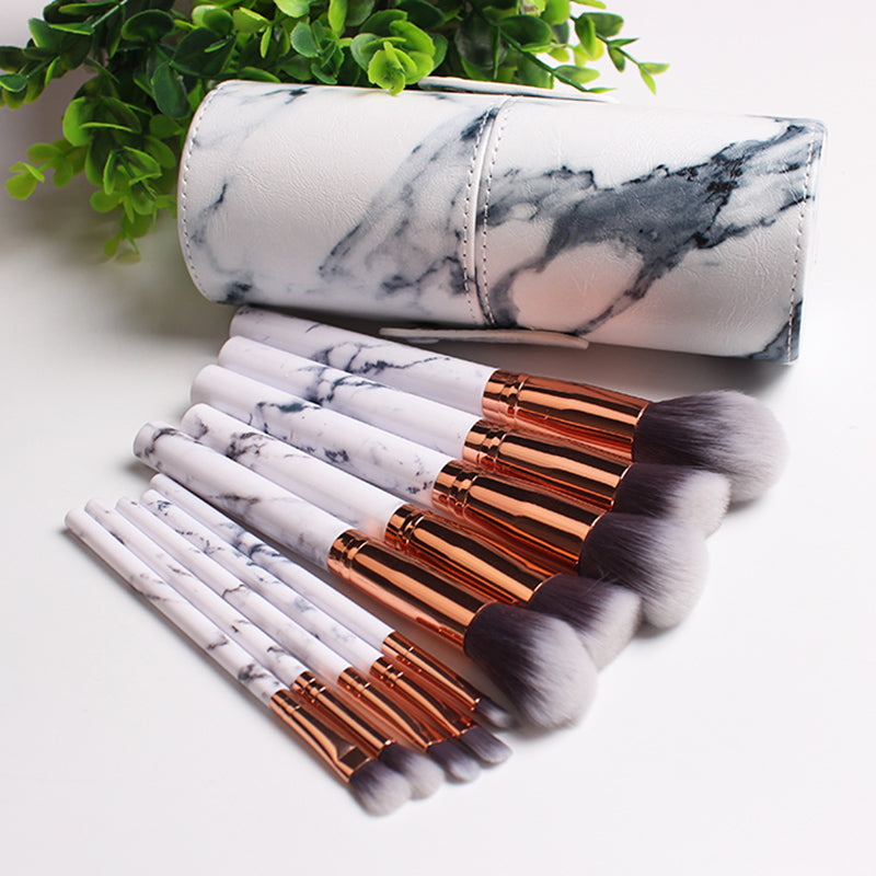 Marble Makeup Brush Set Cosmetics Power Eye Shadow Foundation Blush Blending Beauty Essentials Makeup Tool Kits