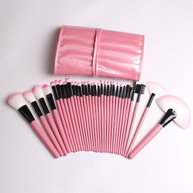 32pcs Professional Cosmetic Makeup Brushes Set Beauty Essentials Foundation Eyeshadow Eyeliner Lip Pincel Pink Make Up Brush