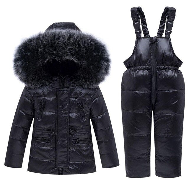 Winter Baby Boy Clothing Sets Warm Children Thick Snowsuit Ski Suits Natural Fur Kids Jacket Outerwear Coat+ Jumpsuits Pants