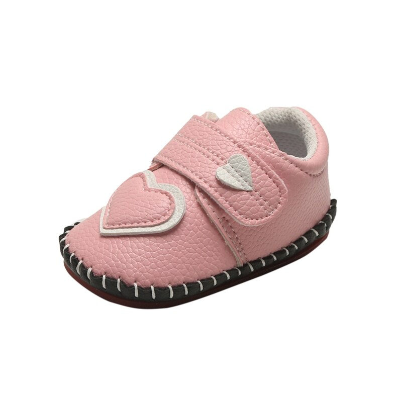 Baby Girl Breathable Heart Pattern Anti-Slip Shoes Casual Sneakers Toddler Soft Soled First Walkers