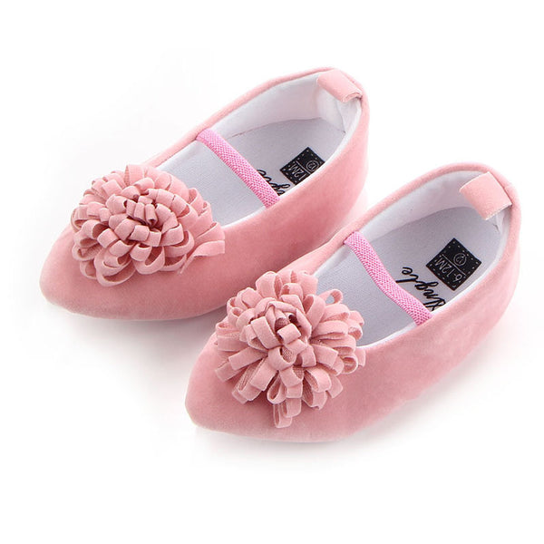 dkDaKanl Baby Shoes Solid Pointed Flower Female Baby Princess Shoes 0-1 Years Old Elastic Band Toddler Shoes GXY105