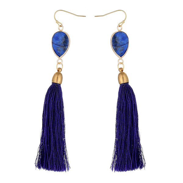 Lapis Lazuli & Zink Alloy Earrings for women