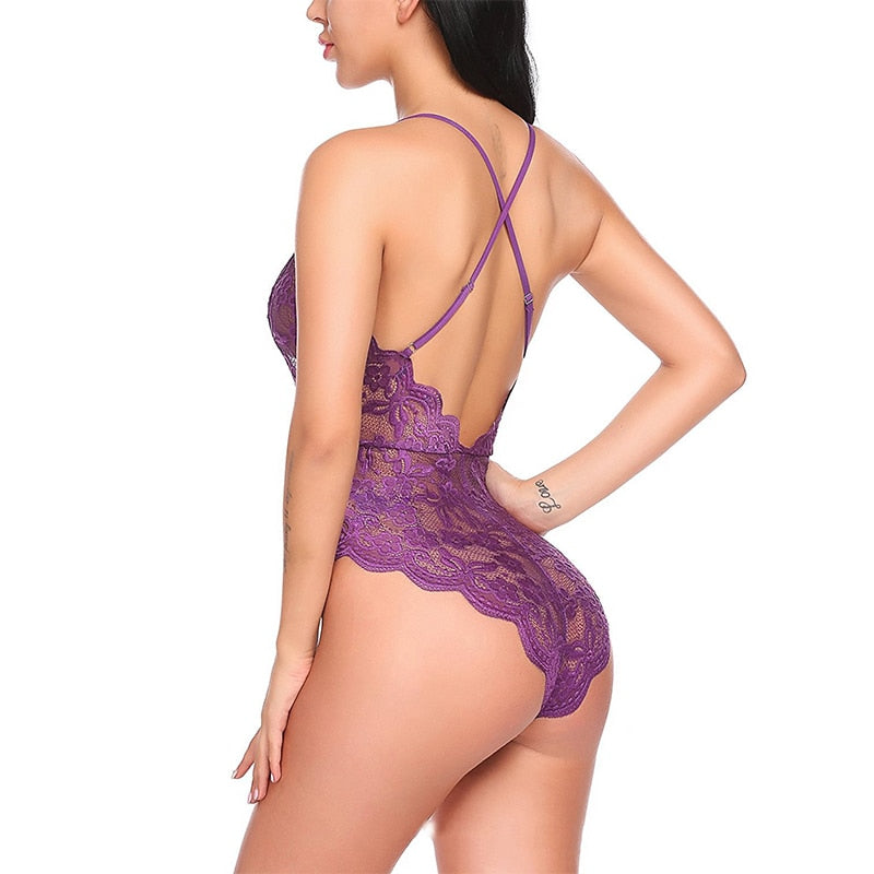 Hot sheer lace bodysuit women backless transparent