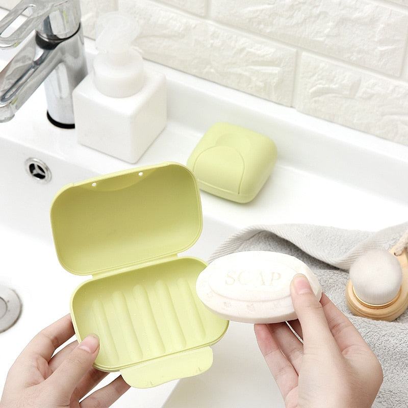 1Pcs big/small Candy color portable Soap Dish Box Case Bath Bowl Plate Case Home Shower Travel Hiking Holder Container Soap Box